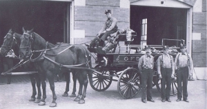 Highland Park Fire Department with horsedrawn pump